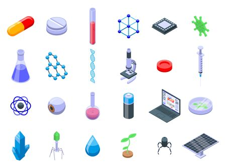 Nanotechnology icons set. Isometric set of nanotechnology vector icons for web design isolated on white background Ilustracja
