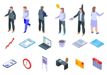 Office manager icons set. Isometric set of office manager vector icons for web design isolated on white background