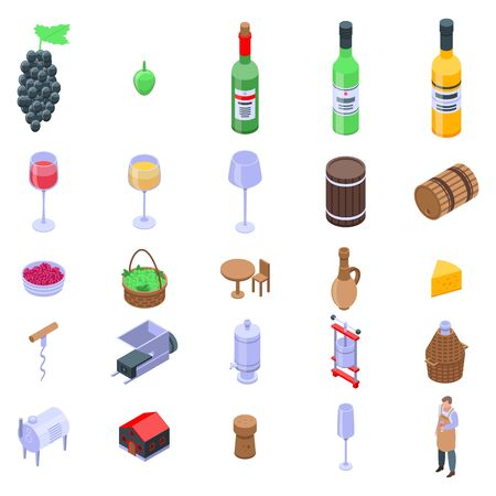 Winemaker icons set. Isometric set of winemaker vector icons for web design isolated on white background 스톡 콘텐츠 - 143300946