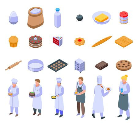 Confectioner icons set. Isometric set of confectioner vector icons for web design isolated on white background