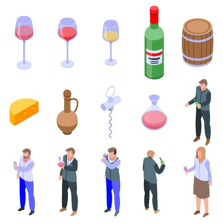 Sommelier icons set. Isometric set of sommelier vector icons for web design isolated on white background