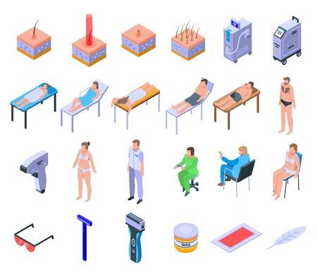Laser hair removal icons set. Isometric set of laser hair removal vector icons for web design isolated on white background