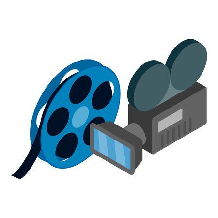 Movie time icon, isometric style  イラスト・ベクター素材