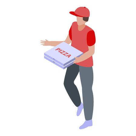 Pizza delivery icon, isometric style