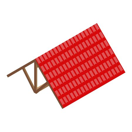 Red roof icon, isometric style