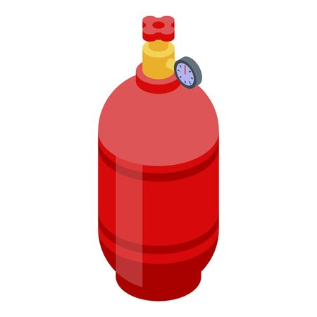 Gas balloon cylinder icon. Isometric of gas balloon cylinder vector icon for web design isolated on white background Иллюстрация