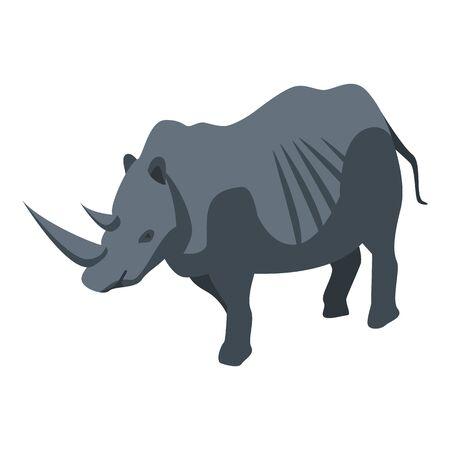 Zoo rhinoceros icon, isometric style Illustration