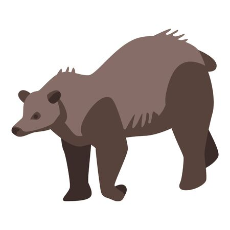 Zoo brown bear icon, isometric style 向量圖像