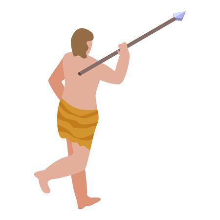 Stone age hunter icon, isometric style Ilustração