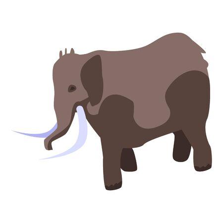 Stone age elephant icon, isometric style