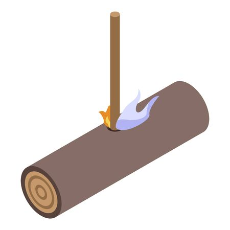 Stone age fire catch icon, isometric style