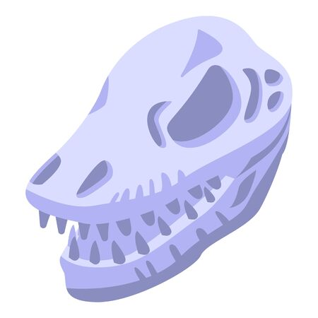 Stone age skull head icon. Isometric of stone age skull head vector icon for web design isolated on white background
