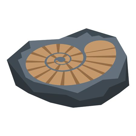 Stone age spiral draw icon, isometric style