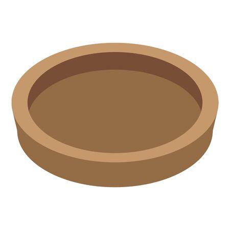 Stone age bowl icon, isometric style