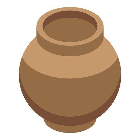 Stone age vase icon, isometric style