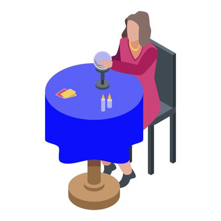 Fortune teller icon, isometric style
