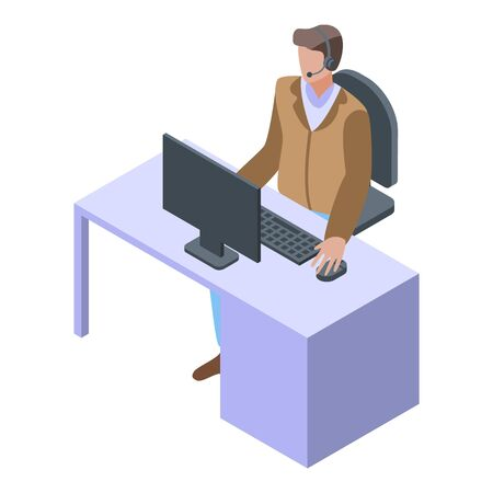 Call center manager icon, isometric style