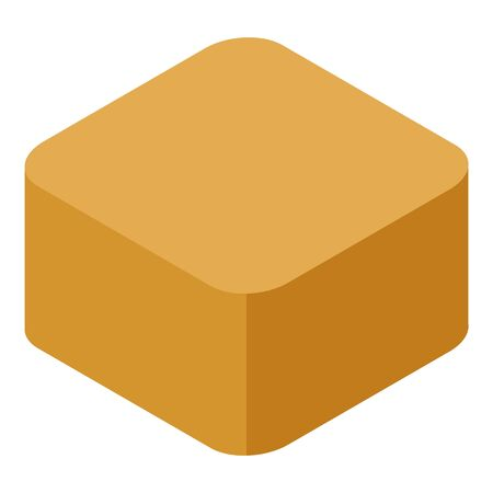 Cube toffee icon, isometric style