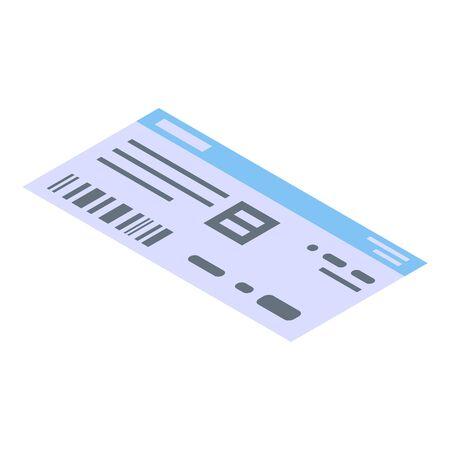 Basketball match ticket icon. Isometric of basketball match ticket vector icon for web design isolated on white background
