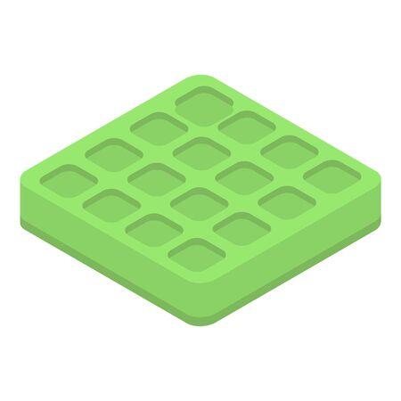 Waffle matcha tea icon. Isometric of waffle matcha tea vector icon for web design isolated on white background