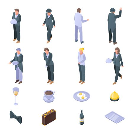 Butler icons set. Isometric set of butler vector icons for web design isolated on white background
