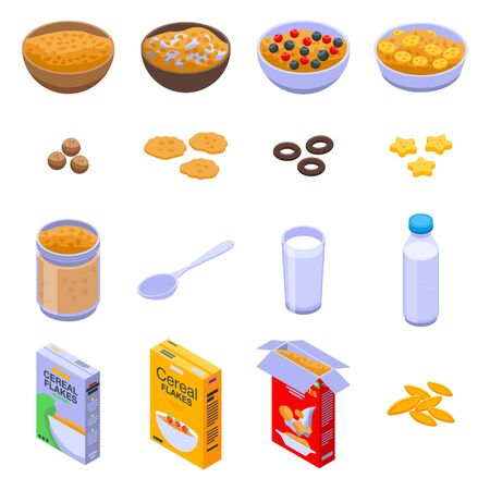 Cereal flakes icons set. Isometric set of cereal flakes vector icons for web design isolated on white background