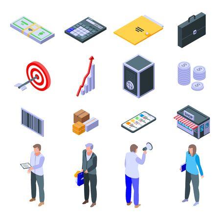 Purchasing manager icons set. Isometric set of purchasing manager vector icons for web design isolated on white background Vektoros illusztráció