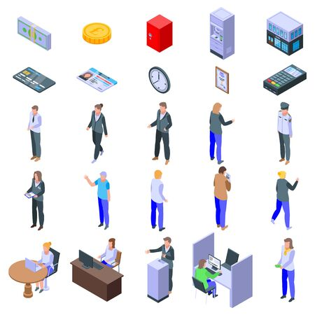 Bank teller icons set. Isometric set of bank teller vector icons for web design isolated on white background