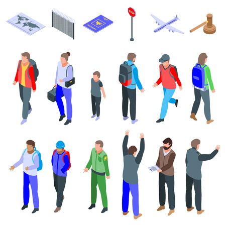 Illegal immigrants icons set, isometric style