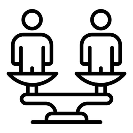 No racism balance icon, outline style