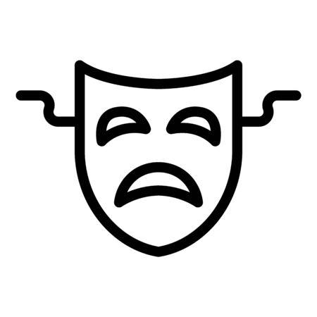Sad theatre mask icon, outline style 向量圖像