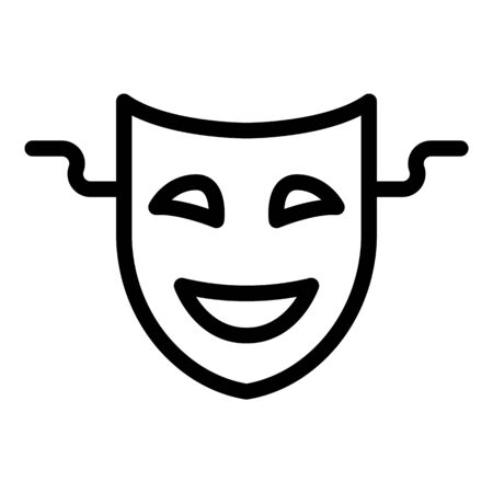 Smiling theatre mask icon, outline style