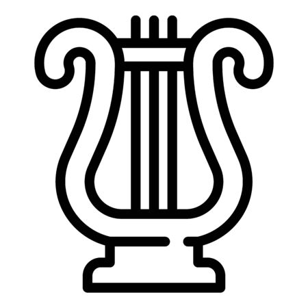 Musical harp icon, outline style