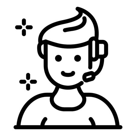 Social service call support icon, outline style