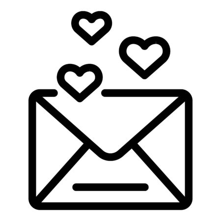 Love envelope icon, outline style