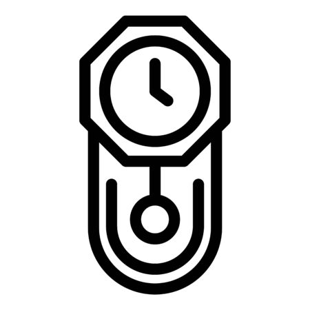 Chalet pendulum clock icon, outline style