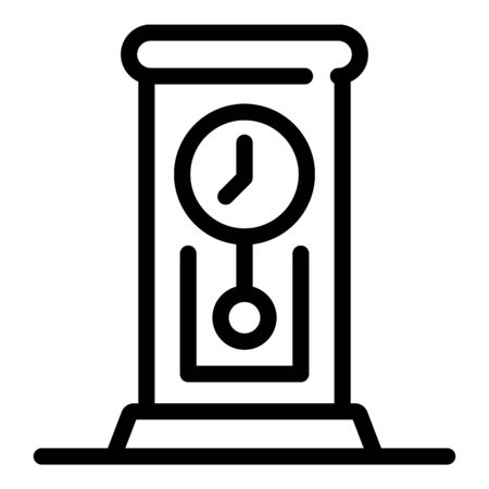 Retro pendulum clock icon, outline style