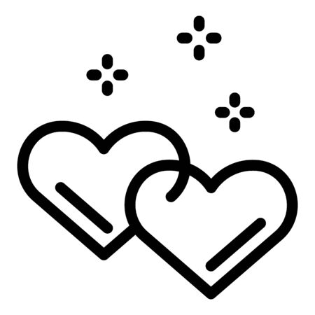 Hearts love affection icon, outline style