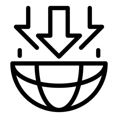 Earth planet gravity icon, outline style Ilustração