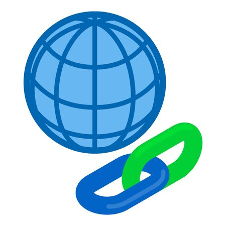 Link building icon. Isometric illustration of link building vector icon for web