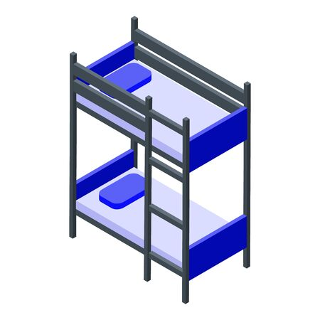 Bunk bed icon. Isometric of bunk bed vector icon for web design isolated on white background