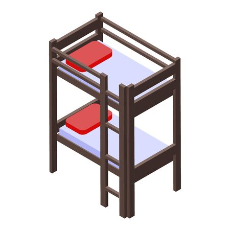 Room bunk bed icon. Isometric of room bunk bed vector icon for web design isolated on white background