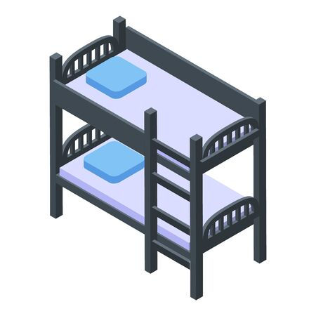 Bunk bed equipment icon. Isometric of bunk bed equipment vector icon for web design isolated on white background 向量圖像