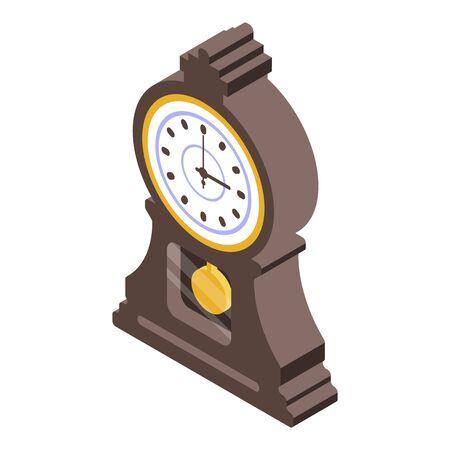 Alarm pendulum clock icon. Isometric of alarm pendulum clock vector icon for web design isolated on white background