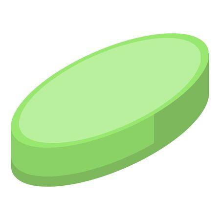 Green capsule icon, isometric style 向量圖像