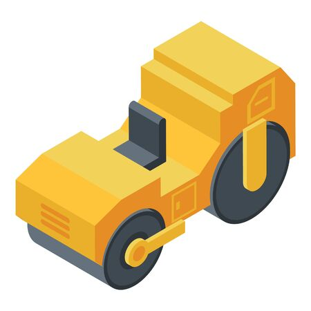 Roller compactor icon, isometric style