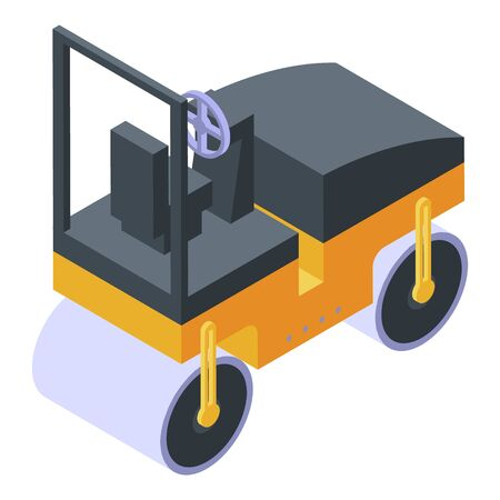 Asphalt compactor icon. Isometric of asphalt compactor vector icon for web design isolated on white background Illustration
