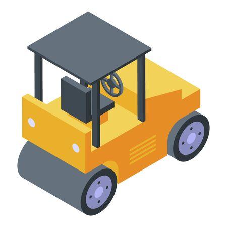 Asphalt roller icon. Isometric of asphalt roller vector icon for web design isolated on white background