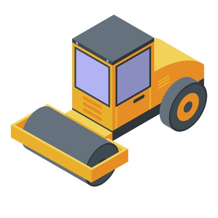 Road construction roller icon. Isometric of road construction roller vector icon for web design isolated on white background