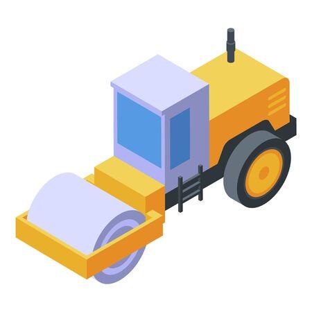 Asphalt paver machine icon, isometric style Vectores
